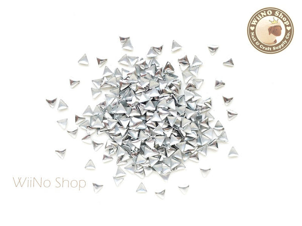 3mm Silver Triangle Metal Studs Nail Art - 100 pcs