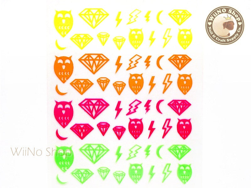 Neon Owl Diamond Adhesive Nail Sticker Nail Art - 1 pc (HR02)