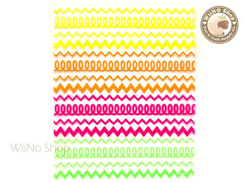 Neon Zigzag Pattern Adhesive Nail Sticker Nail Art - 1 pc (HR04)