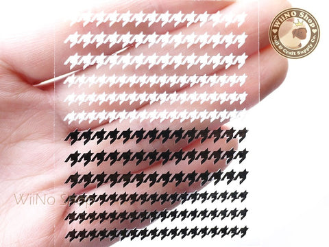 Black White Houndstooth Pattern Adhesive Nail Sticker Nail Art - 1 pc (HR09)