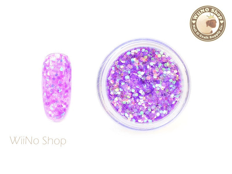 Purple Hexagon Mixed with Glitter Dust (A03)