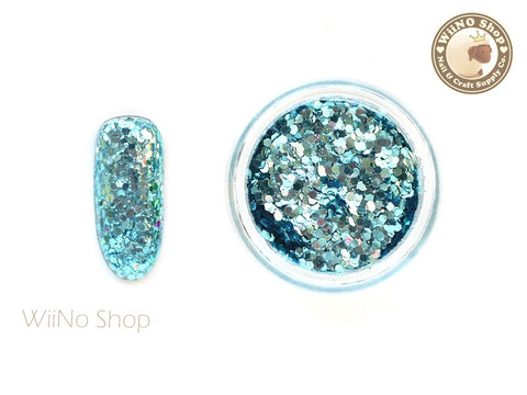 Blue Turquoise Hexagon Mixed with Glitter Dust (A01)