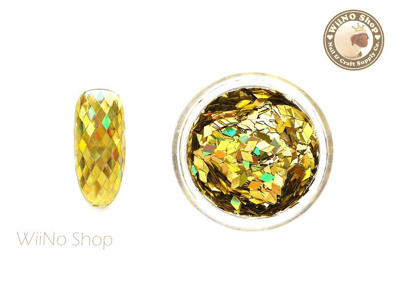2 x 3mm Gold Holographic Diamond Shape Glitter (DM01)
