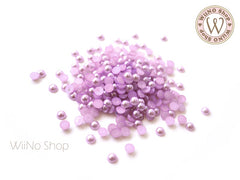 4mm Purple Half Pearl Flat Back Acrylic Rhinestone Nail Art - 200 pcs