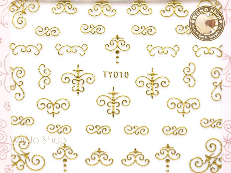 Gold Vector Border Pattern Nail Sticker Nail Art - 1 pc (TY010G)