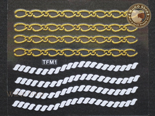 Gold White Glitter Rope Chain Adhesive Nail Sticker Nail Art - 1 pc (TFM1)