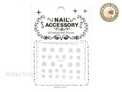 Camellia Flower Silver Adhesive Nail Sticker Nail Art - 1 pc (TY007S)