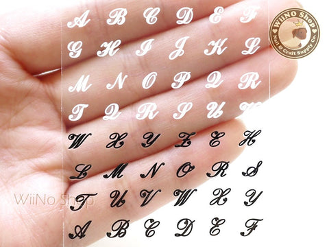 Black White Hand Writing Letter Adhesive Nail Sticker Nail Art - 1 pc (HR19)