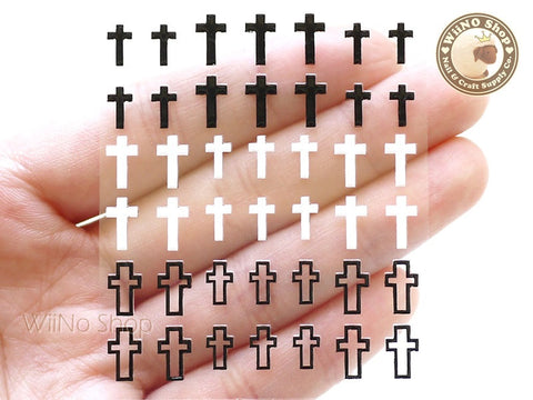 Black White Cross Adhesive Nail Sticker Nail Art - 1 pc (HR20)