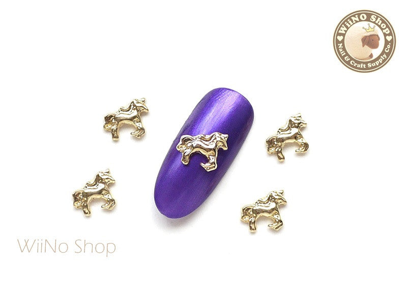 Gold Unicorn Nail Metal Charm - 2 pcs