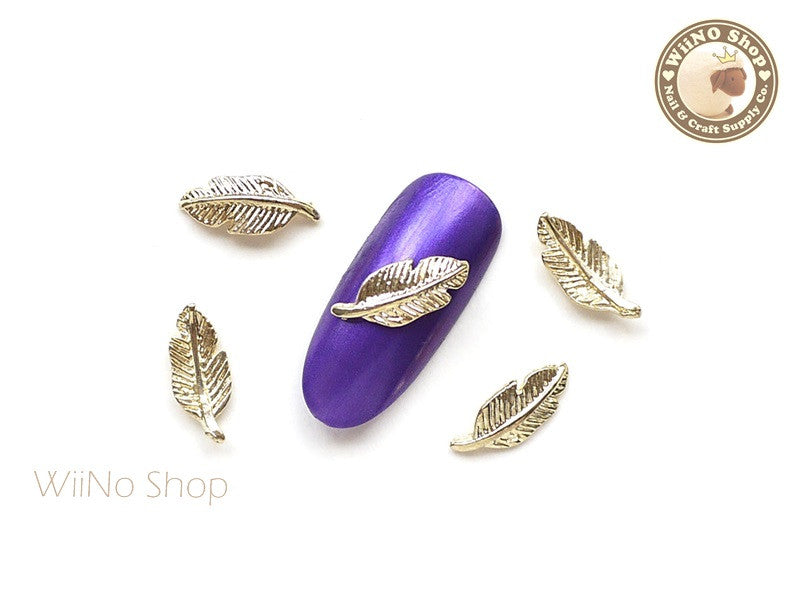 Gold Feather Nail Metal Charm - 2 pcs (FT01G)