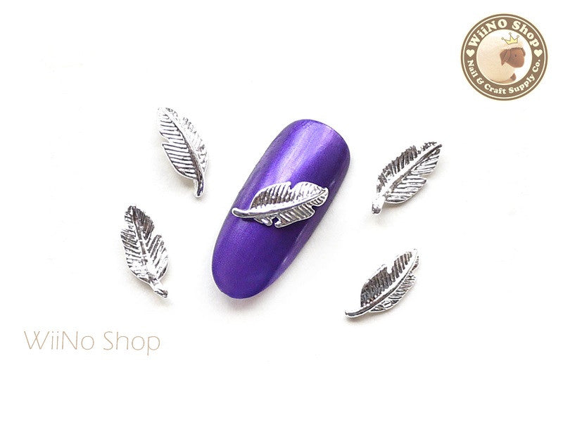 Silver Feather Nail Metal Charm - 2 pcs (FT01S)