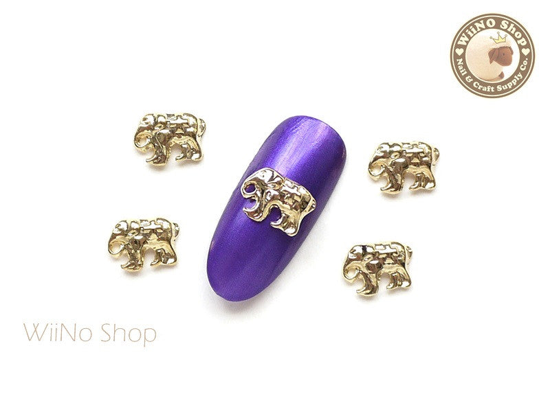 Gold Elephant Nail Metal Charm - 2 pcs