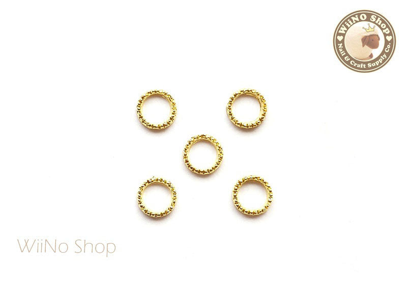 6mm Gold Round Circle Frame Nail Art Decoration - 5 pcs