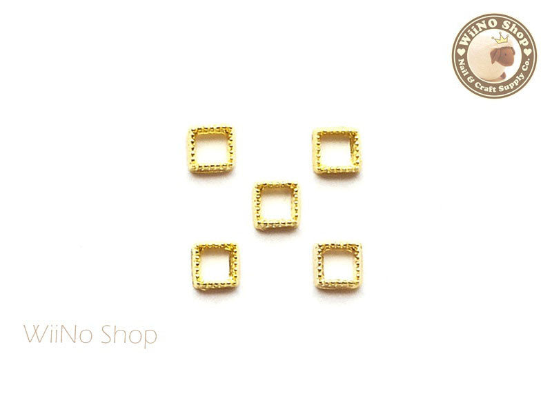 Gold Square Frame Nail Art Decoration - 5 pcs