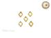 Gold Diamond Shaped Frame Nail Art Decoration - 5 pcs