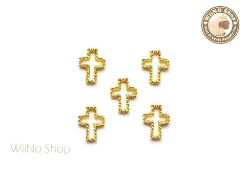 Gold Cross Frame Nail Art Decoration - 5 pcs