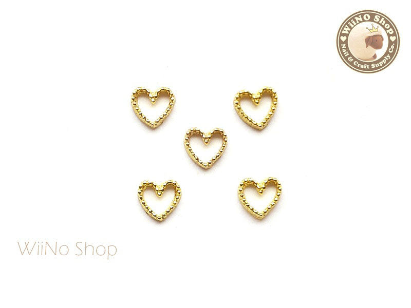 Gold Heart Frame Nail Art Decoration - 5 pcs
