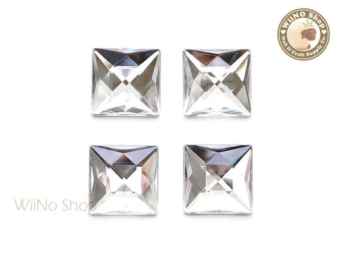 20 x 20mm Clear Square Flat Back Acrylic Rhinestone - 4 pcs
