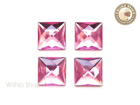 20 x 20mm Pink Rose Square Flat Back Acrylic Rhinestone - 4 pcs