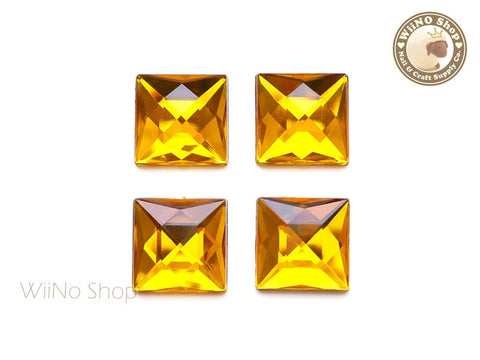 20 x 20mm Yellow Topaz Square Flat Back Acrylic Rhinestone - 4 pcs