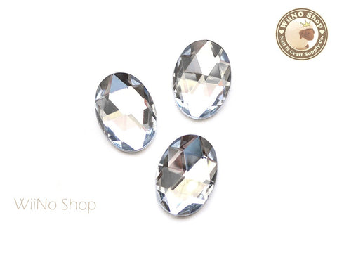 25 x 18mm Clear Oval Flat Back Acrylic Rhinestone - 4 pcs
