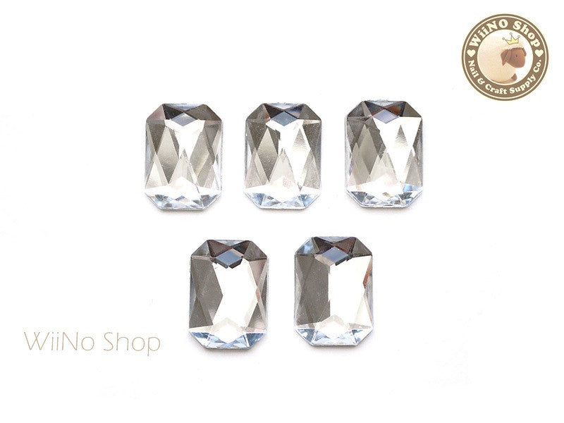 18 x 13mm Clear Octagon Flat Back Acrylic Rhinestone - 5 pcs