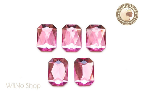18 x 13mm Pink Rose Octagon Flat Back Acrylic Rhinestone - 5 pcs