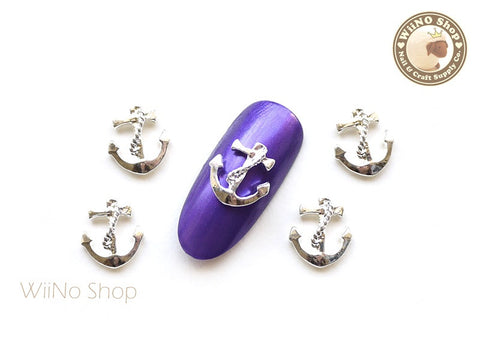 Silver Anchor Nail Metal Charm - 2 pcs