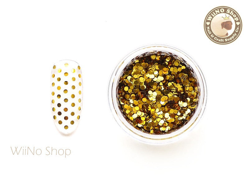 1mm Gold Round Dots Glitter