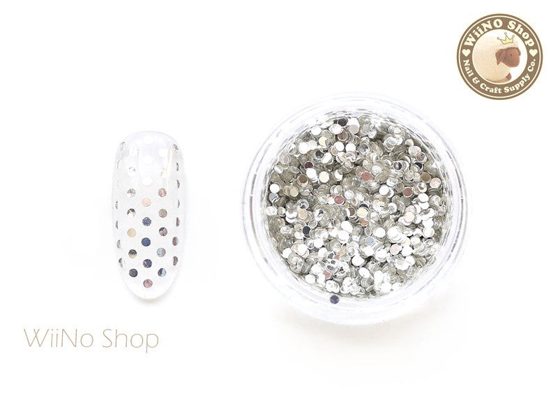 1mm Silver Round Dots Glitter