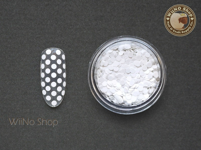 2mm White Round Dots Glitter