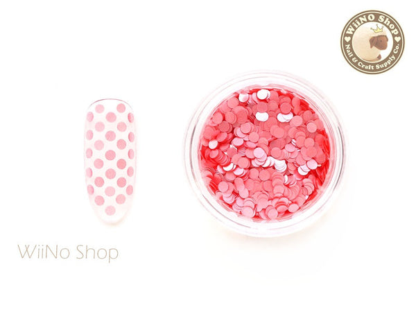 2mm Matte Pink Round Dots Glitter / Nail Art Craft