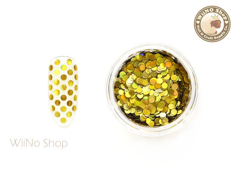 2mm Gold Holographic Round Dots Glitter
