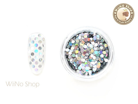 2mm Silver Holographic Round Dots Glitter
