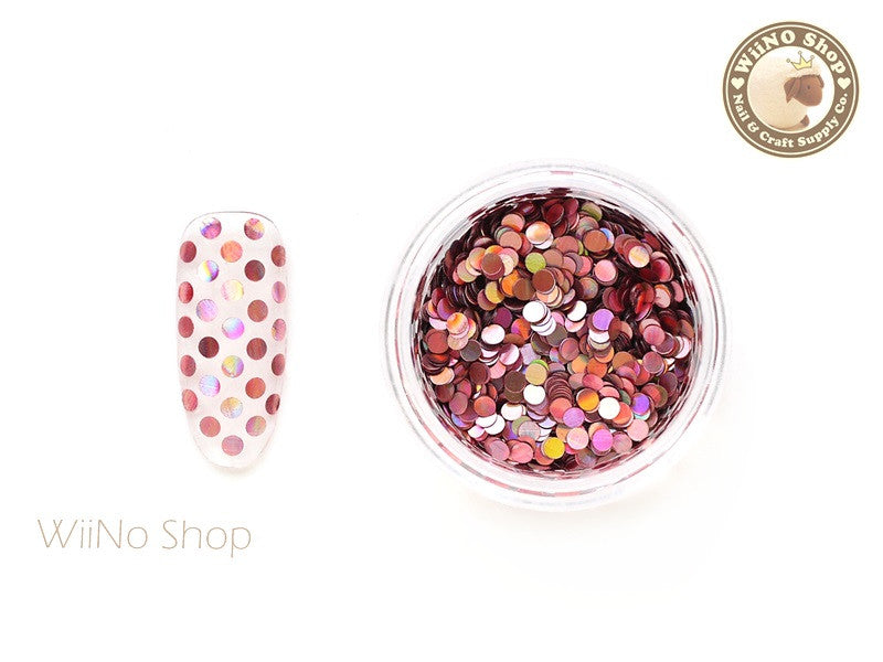 2mm Pink Holographic Round Dots Glitter