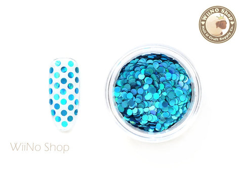 2mm Blue Holographic Round Dots Glitter