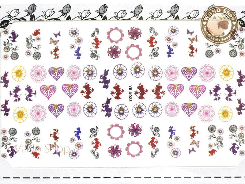 Minnie Mouse Mini Lace Pattern Water Slide Nail Art Decals - 1pc (YB-K023)