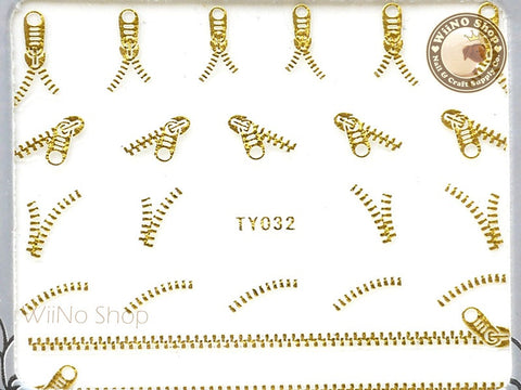 Gold Zipper Adhesive Nail Sticker Nail Art - 1 pc (TY032G)