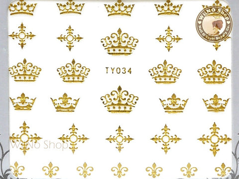 Gold Crown Cross Fleur De Lis Adhesive Nail Sticker Nail Art - 1 pc (TY034G)
