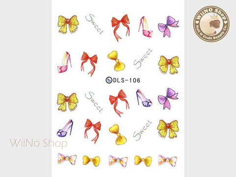 Sweet Ribbon Bow Water Slide Nail Art Decals - 1pc (DLS-106)