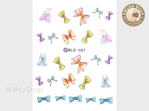Ribbon Bow Water Slide Nail Art Decals - 1pc (DLS-107)