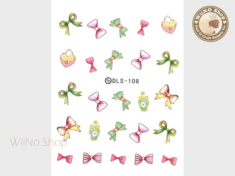 Ribbon Bow Perfume Purse Water Slide Nail Art Decals - 1pc (DLS-108)