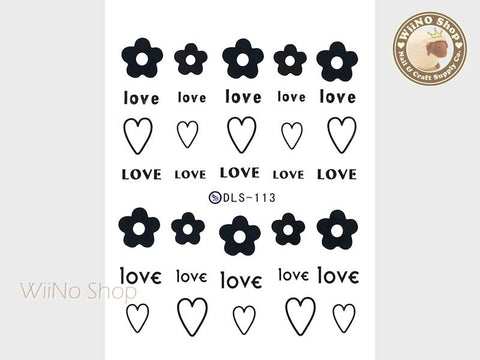 Love Heart Flower Water Slide Nail Art Decals - 1pc (DLS-113)