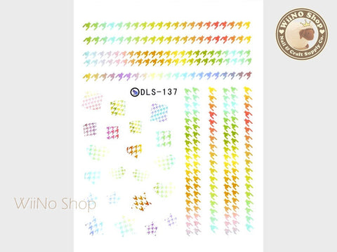 Colorful Houndstooth Water Slide Nail Art Decals - 1pc (DLS-137)