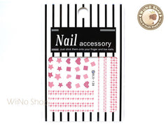 Pink Houndstooth Water Slide Nail Art Decals - 1pc (DLS-138)