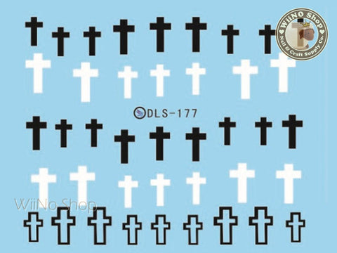 Black White Cross Water Slide Nail Art Decals - 1pc (DLS-177)