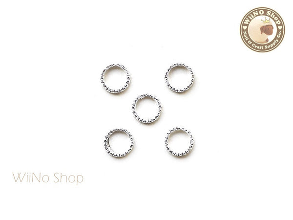 6mm Silver Round Circle Frame Nail Art Decoration - 5 pcs