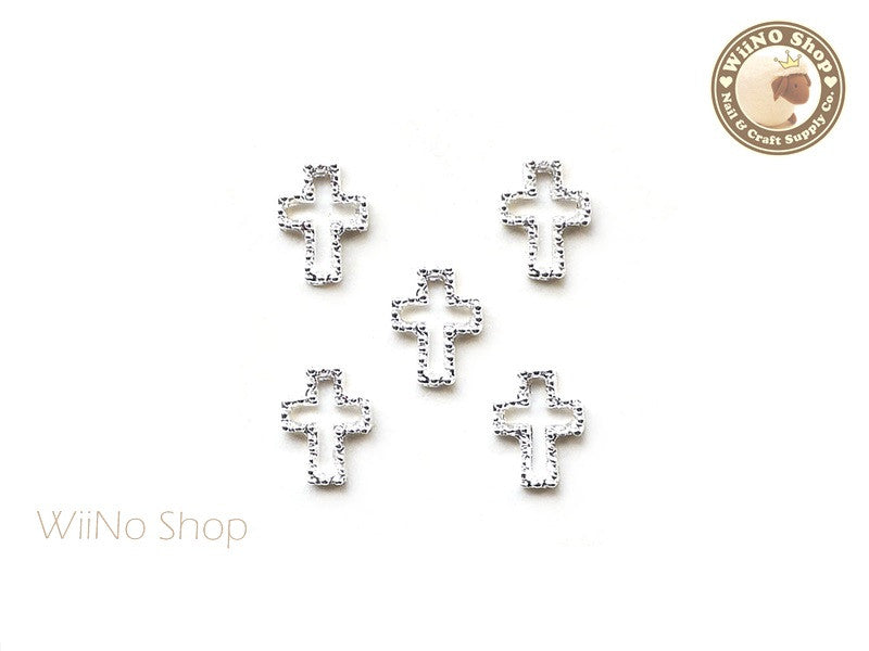 Silver Cross Frame Nail Art Decoration - 5 pcs