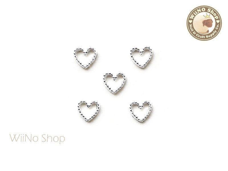 Silver Heart Frame Nail Art Decoration - 5 pcs